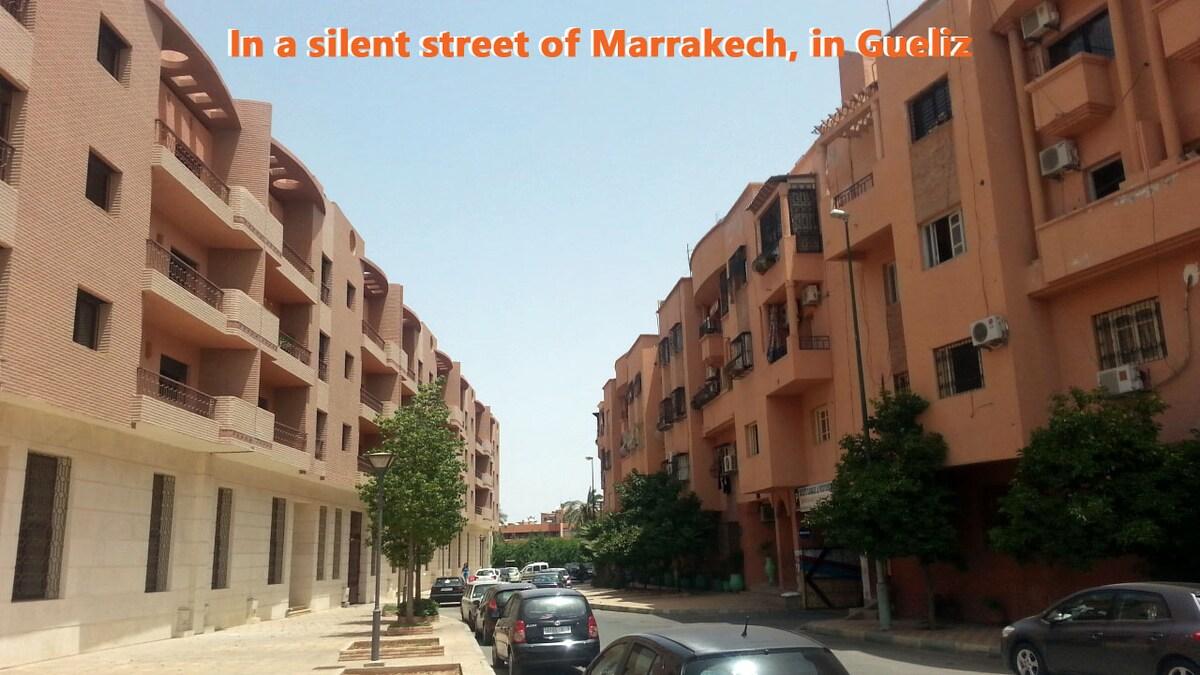 Dans une rue calme du quartier Gueliz, à Marrakech