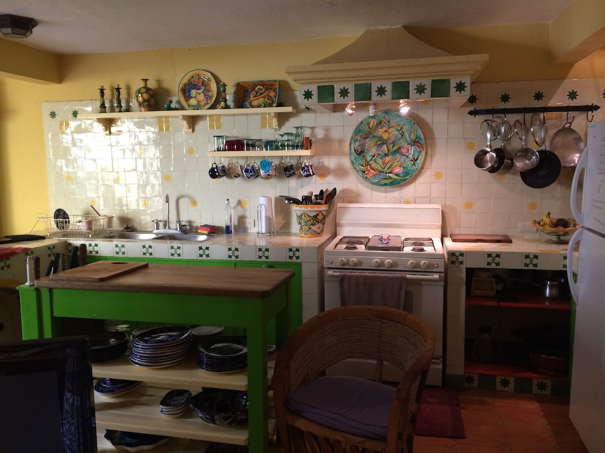 Well appointed, colorful kitchen opens to courtyard, dining room, small office and laundry.