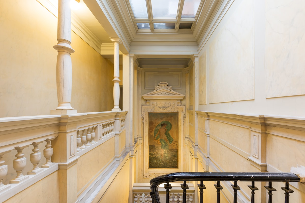 The hall when entering the building
