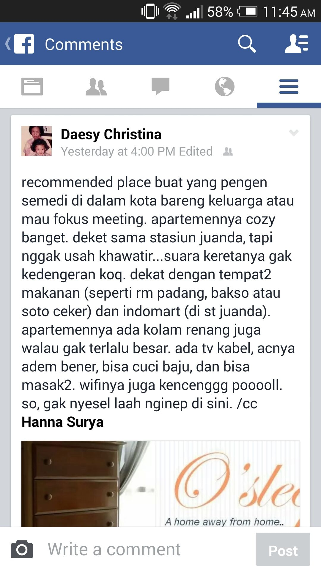 A review in Indonesian from a group renting for a round-the-clock, closed door meeting.