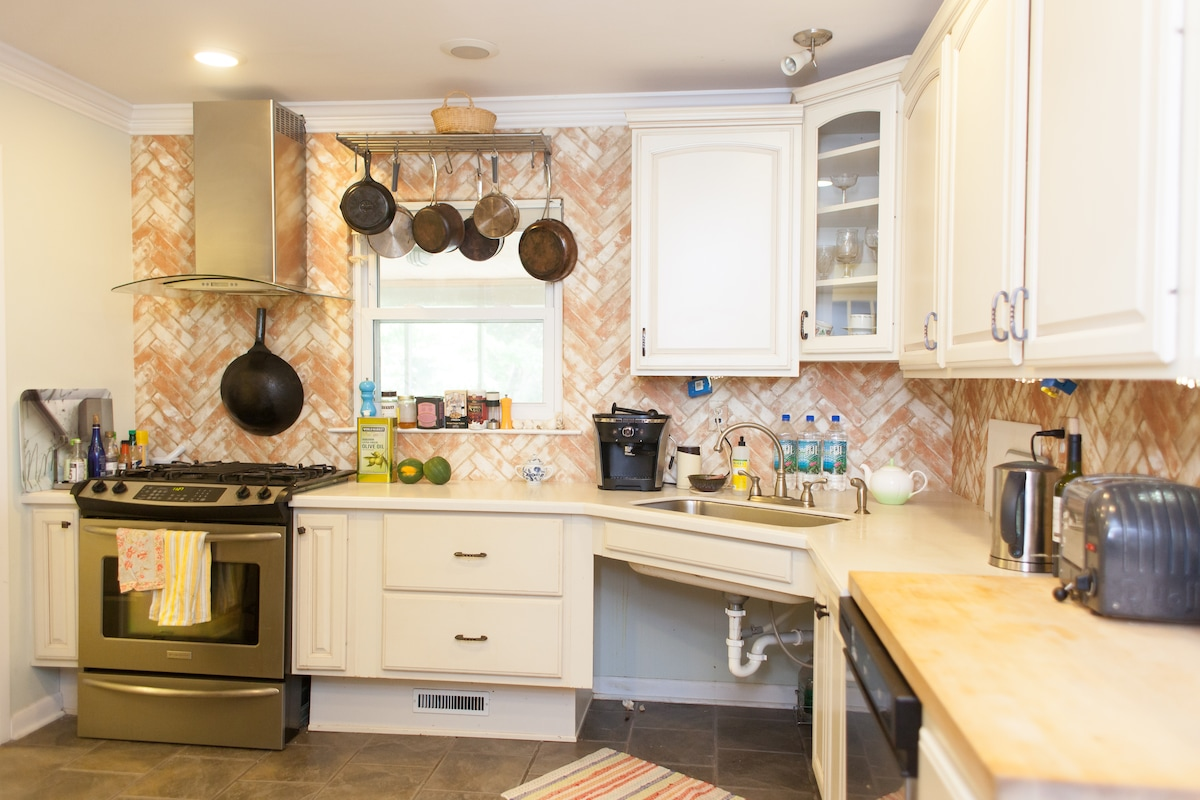 The kitchen is fully stocked with a wide variety of wholesome options for your breakfasts.