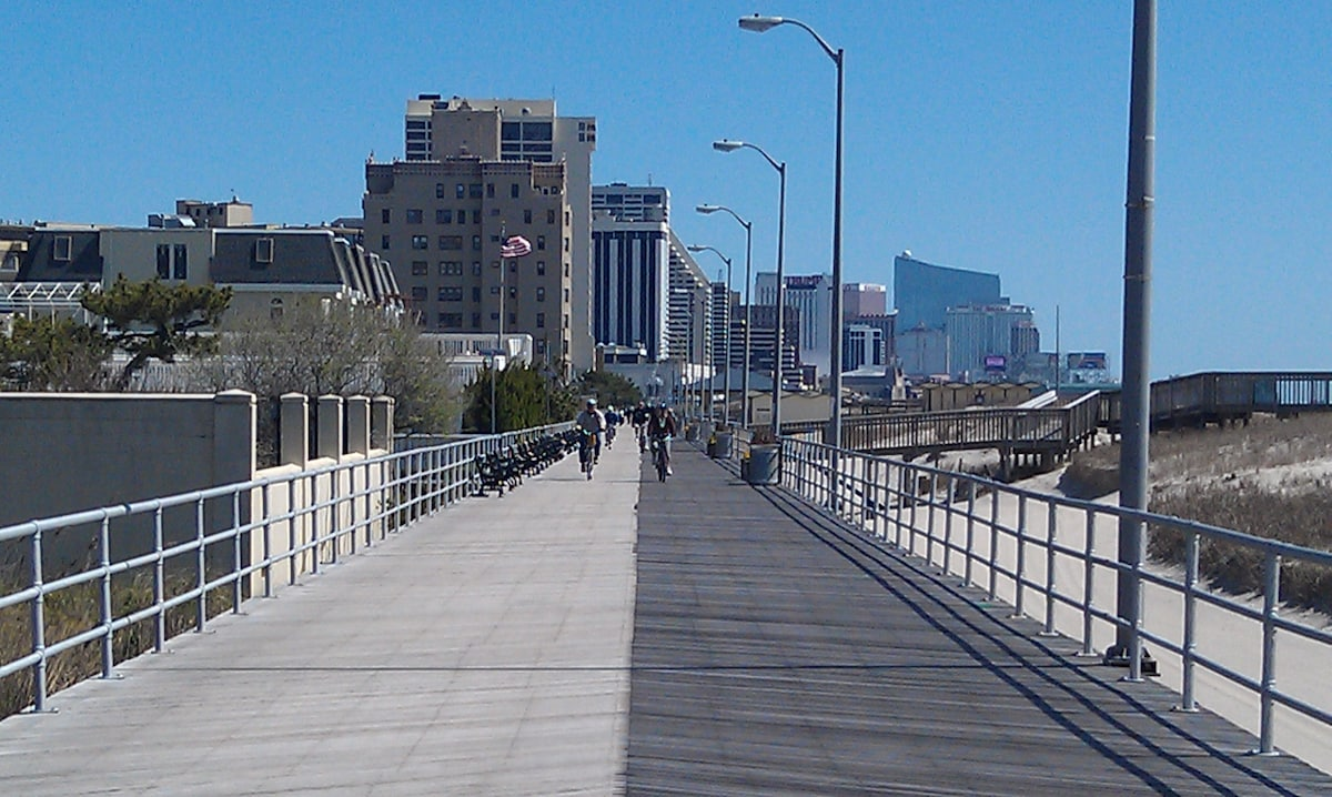Up the street ,the Boardwalk looking at Atlantic City