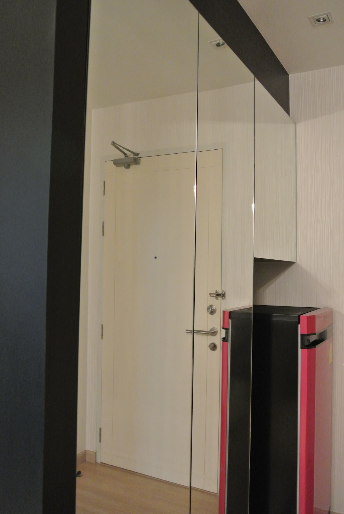 Fridge and built-in cupboard.