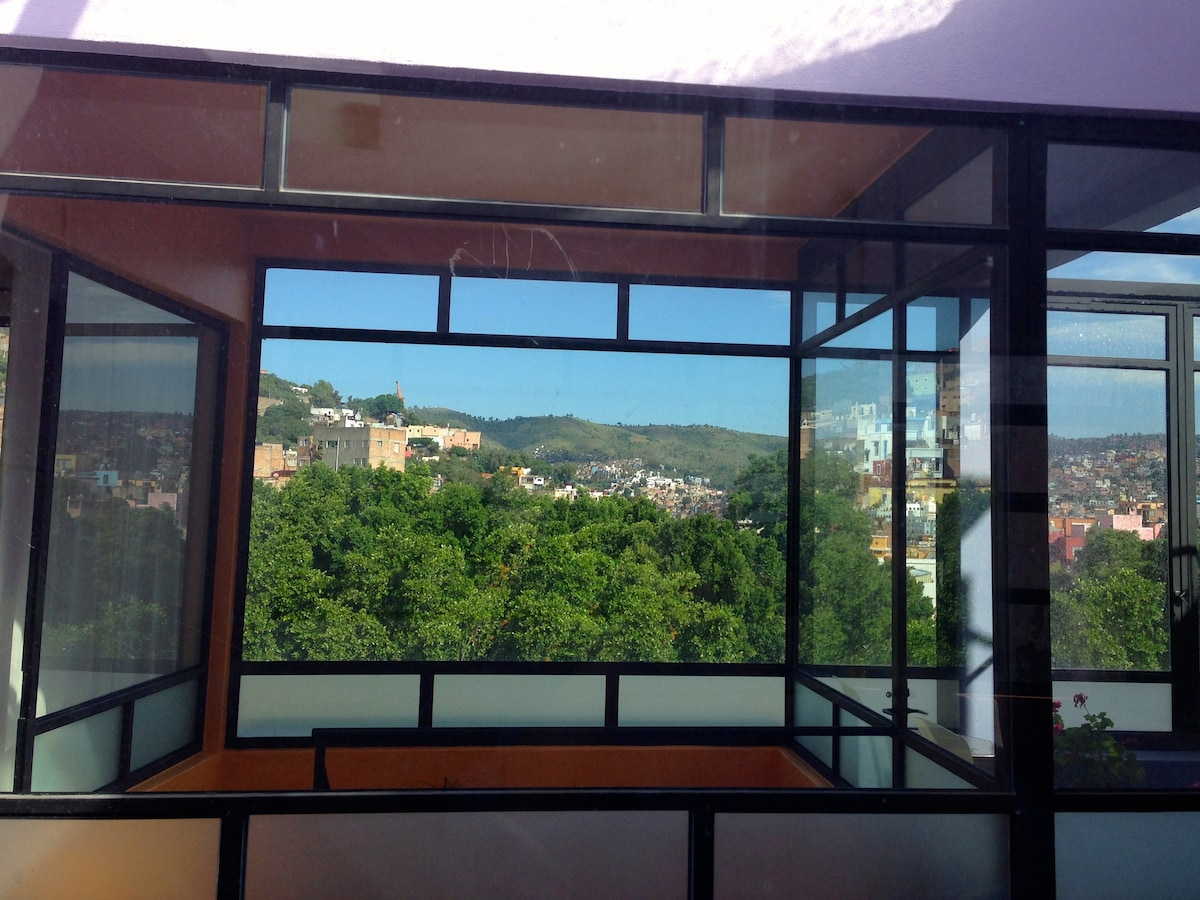 View of Guanajuato from kitchen window (with trees of Embajadoras Garden in foreground)