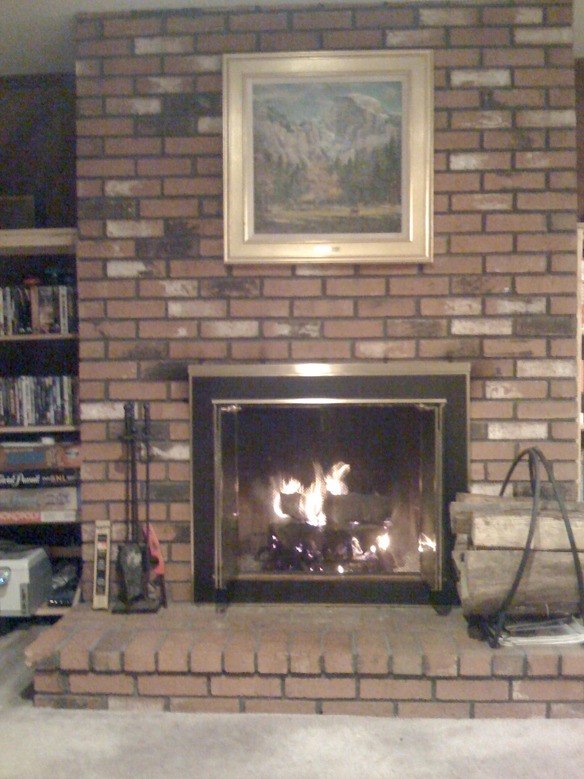 There's a fireplace in the living room.