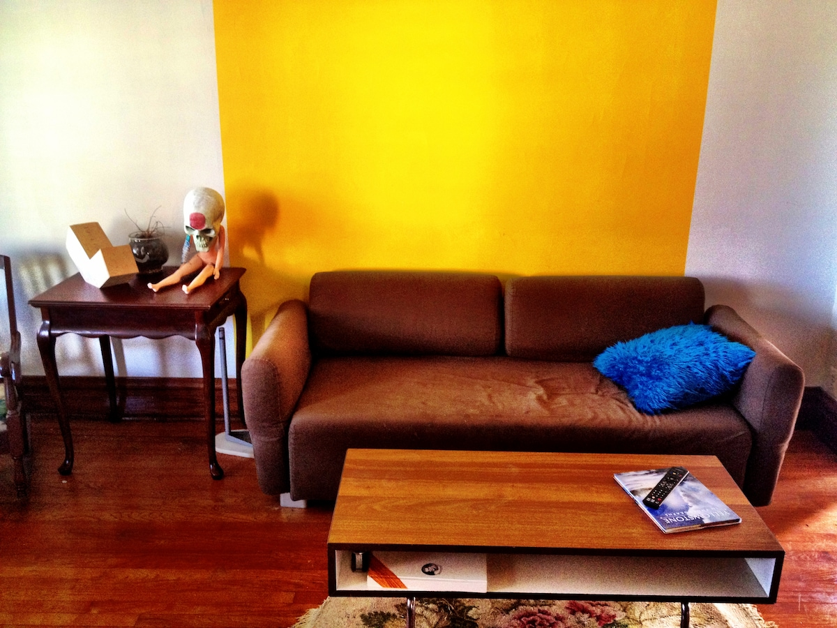 Living room with Skull Woman and Cookie Monster pillow