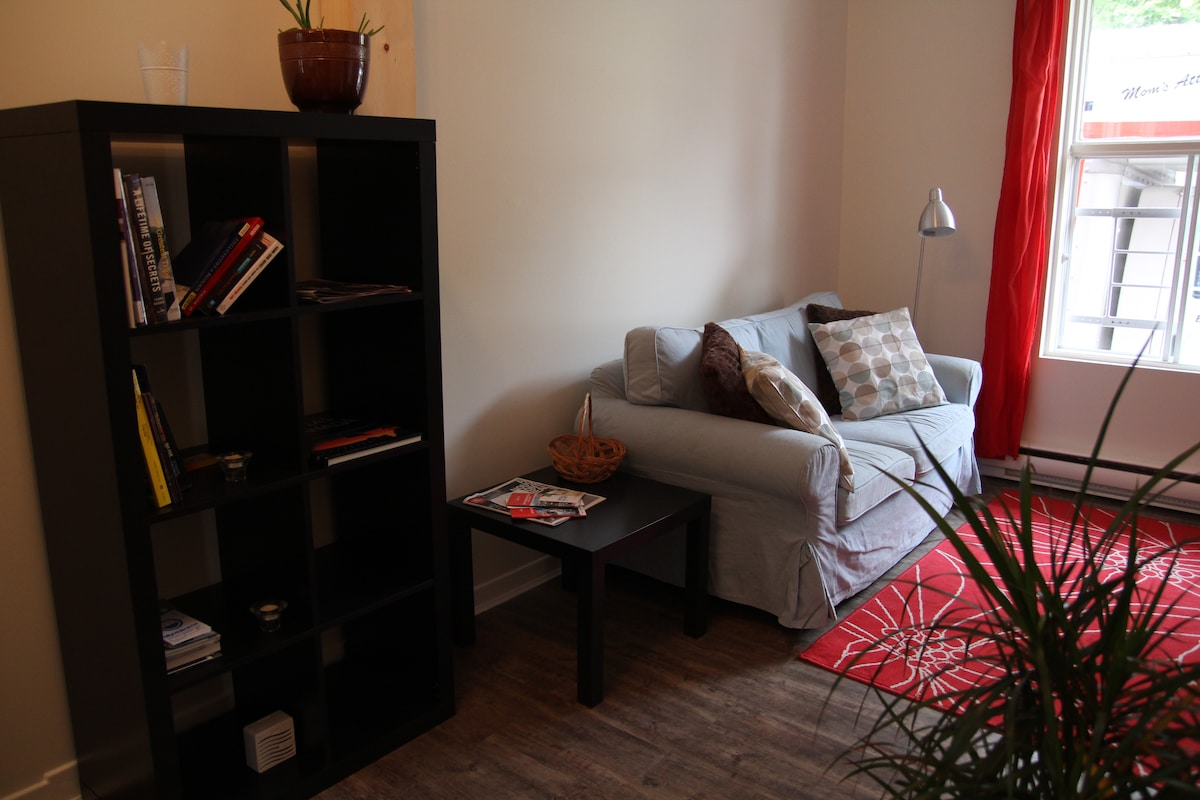 the newly renovated living room