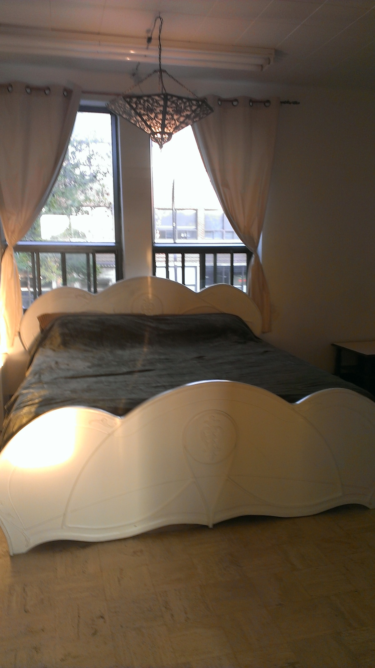The  custom built king size bed in the 2nd bedroom