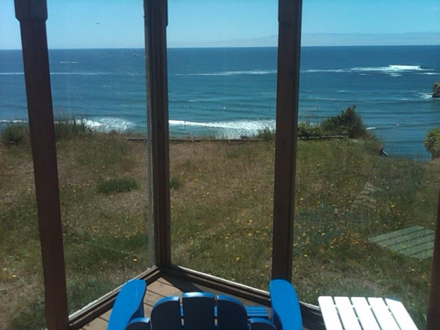 View from the deck and/or hot tub.  Notice all the surfers in the water!
