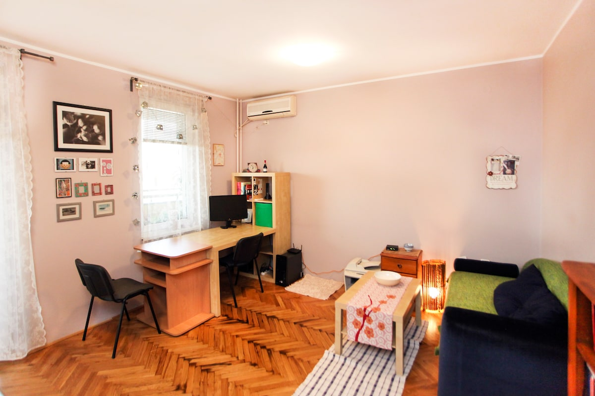 living room and working space