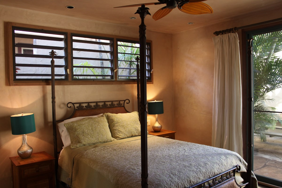 Master bedroom with exit to private tropical garden