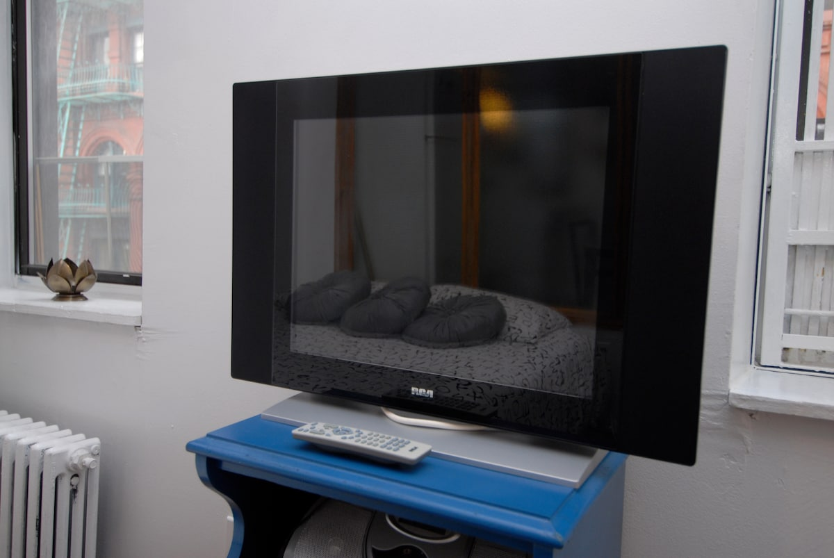 flat screen TV and DVD player available, no cable TV!