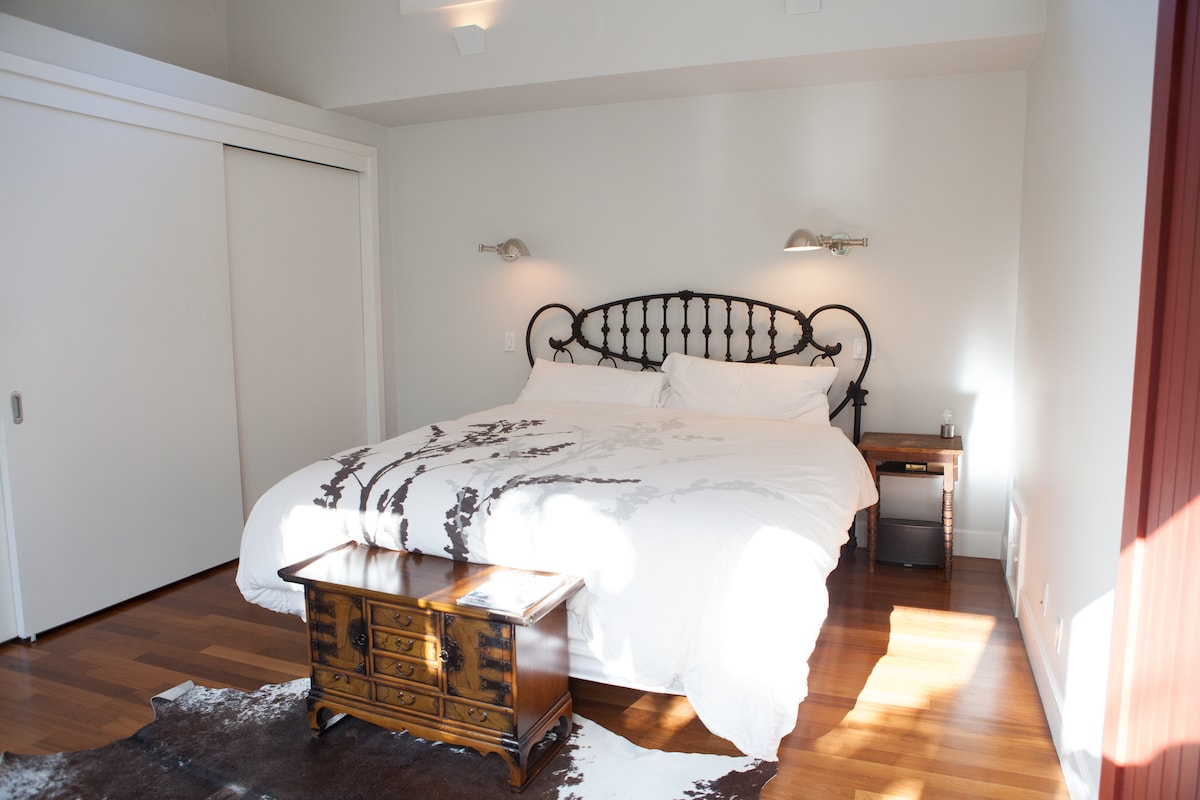 Upstairs Master Bedroom: California King bed, skylights, exposed barn-like ceiling, dual closets.