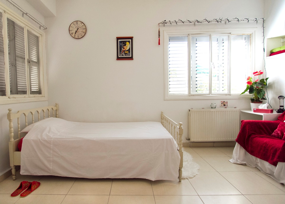 Large, sunny guest-room available :)