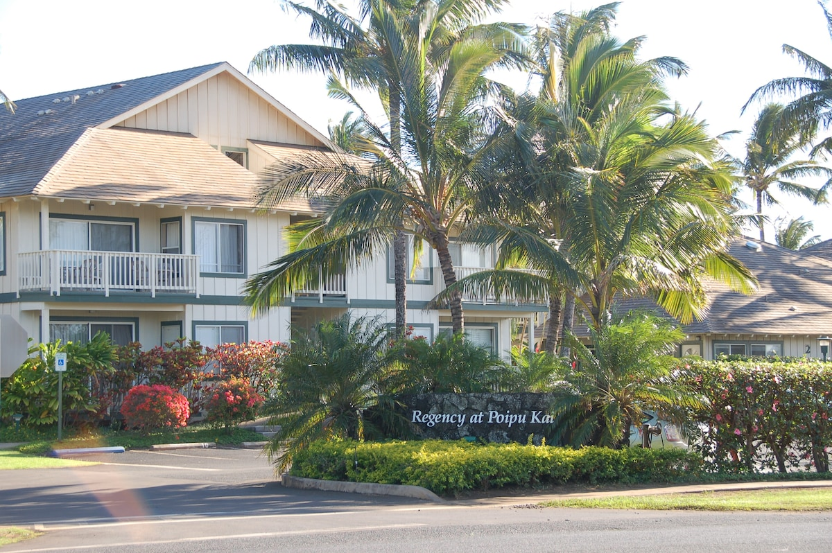 Regency in Poipu Kai resort within a 6-7 min walk of Poipu Beach!  Also 6-7 min walk to Grand Hyatt! World class spa and golf nearby!!