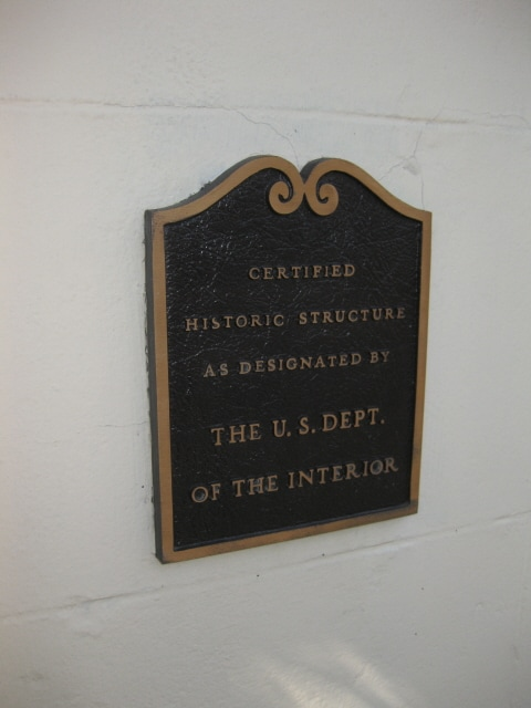 Historic plaque outside the front door