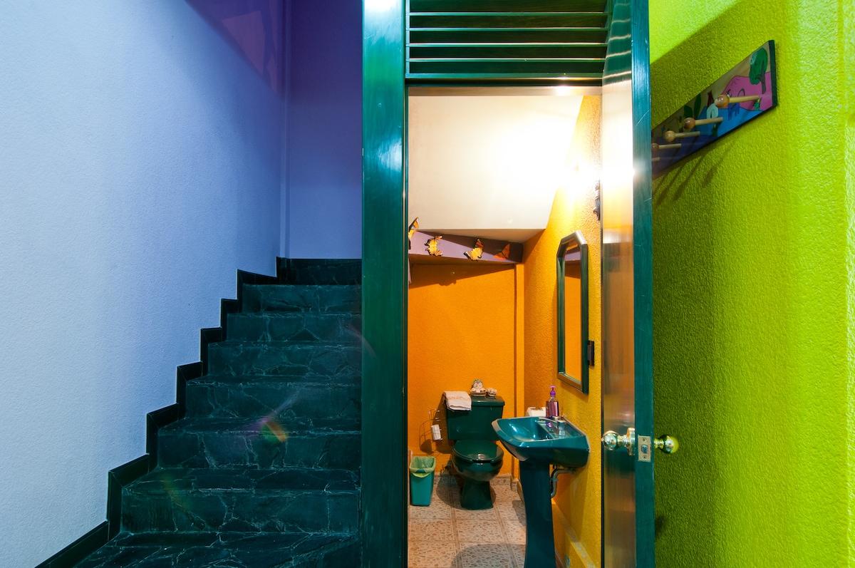 1/2 bathroom or powder room; stairs