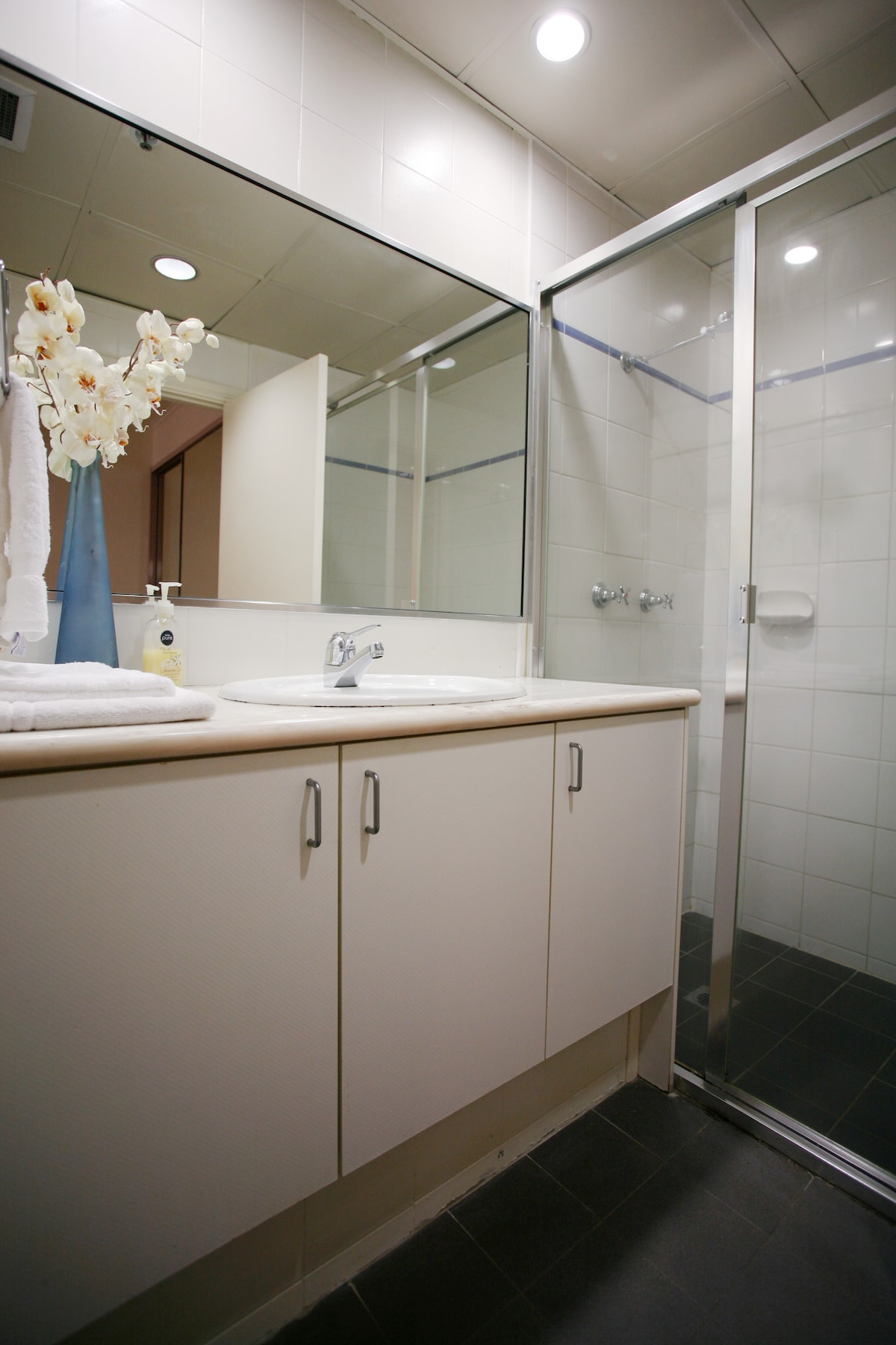 Bathroom with large walk in shower