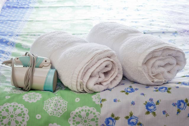 Clean towels and hairdryer are available.