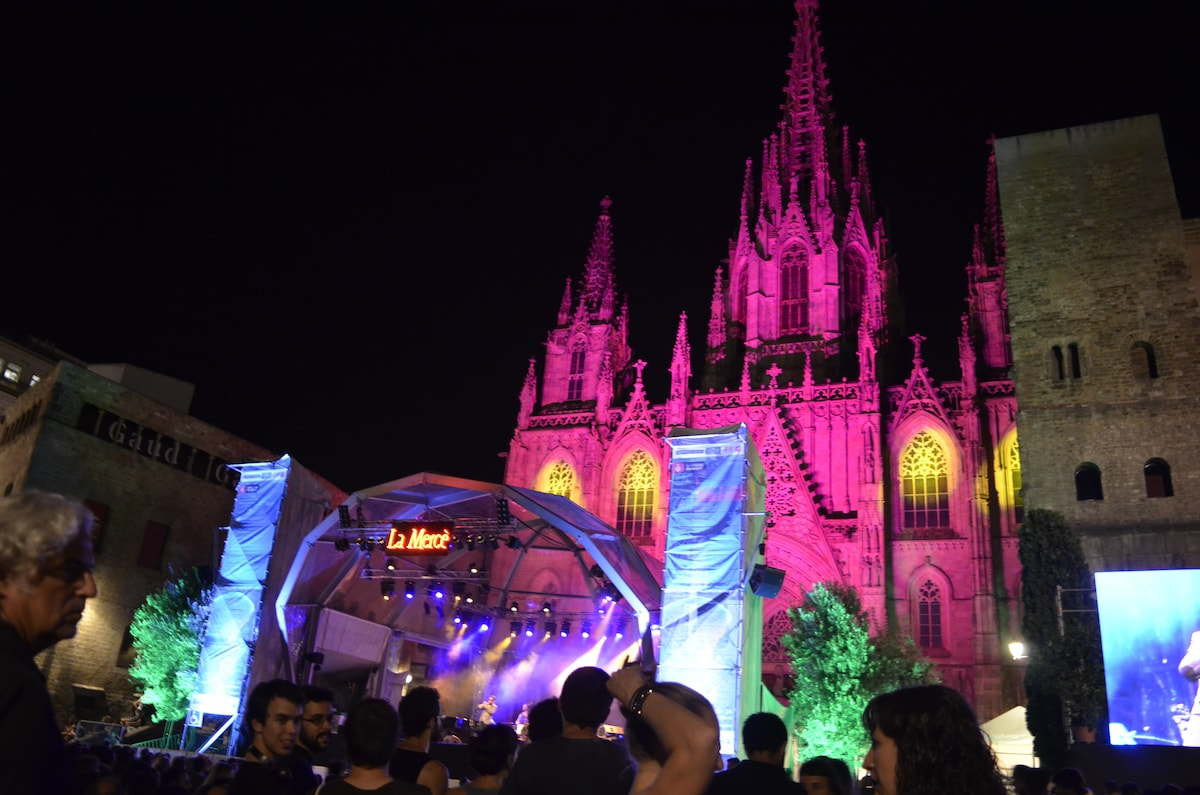 SURROUNDINGS ---3 min walk from home---The cathedral, illuminated for La Merce fiesta.