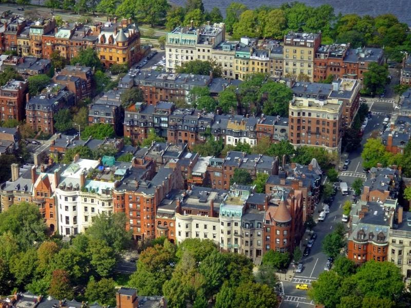 Aerial view of the Back Bay.  You will be staying in the heart of this neighborhood!