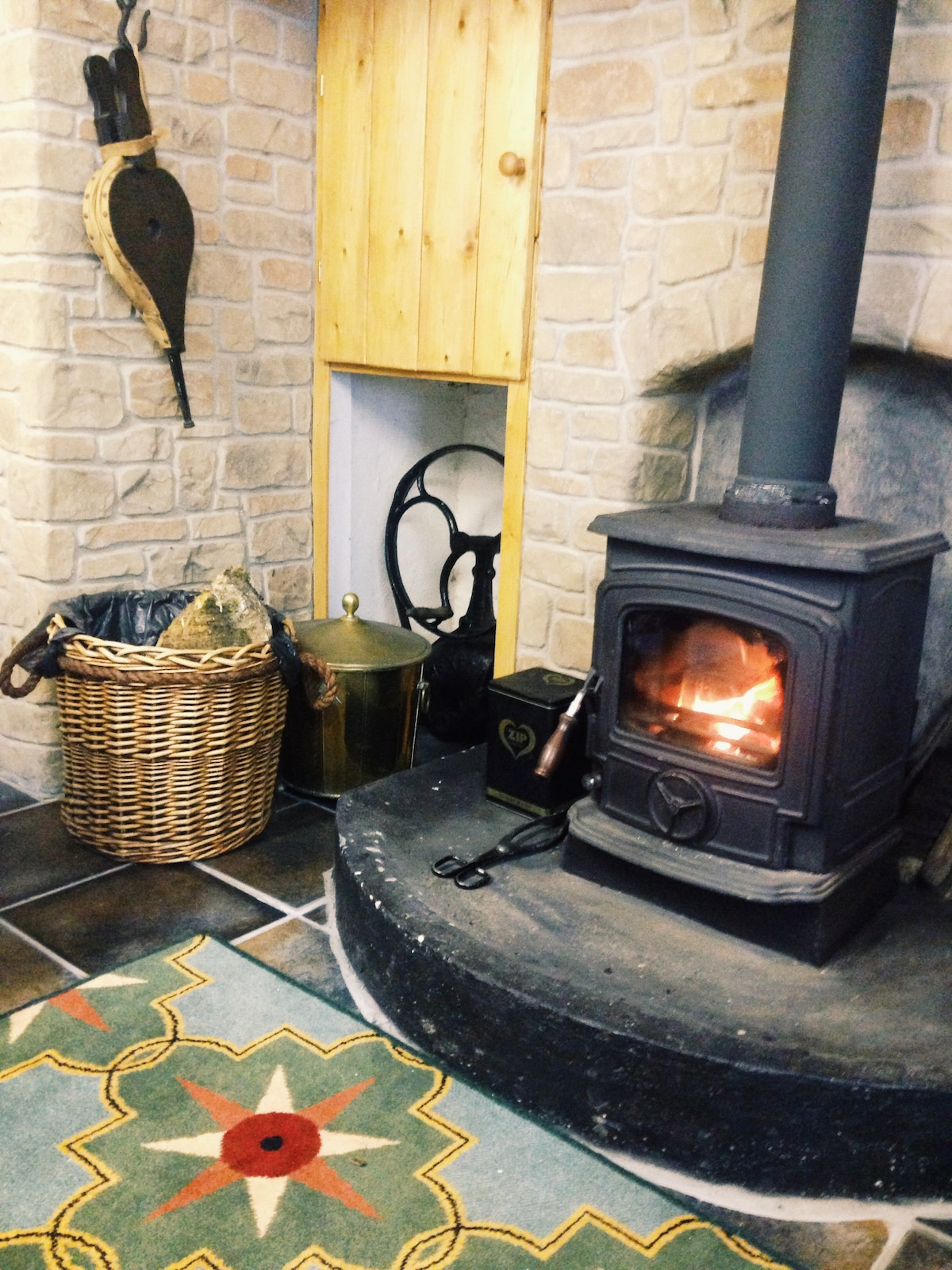 The warm stove is crackling... :)