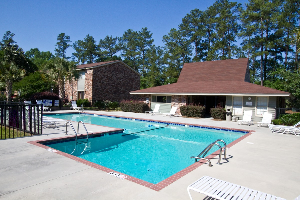 Pool is 3 - 8 feet.  Open sun up to sun down.  No swimming after dark.