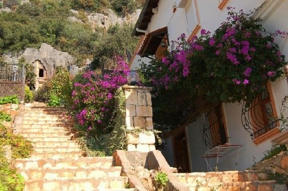 stairs to the apartment and lycian cave tombs