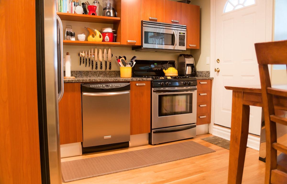 Kitchen and back door.