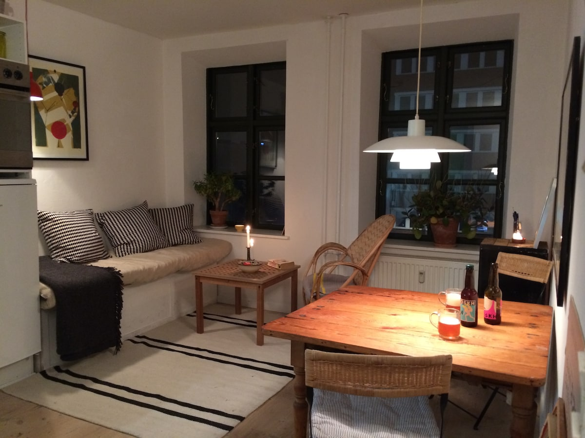 Heart of Vesterbro, small and cosy.