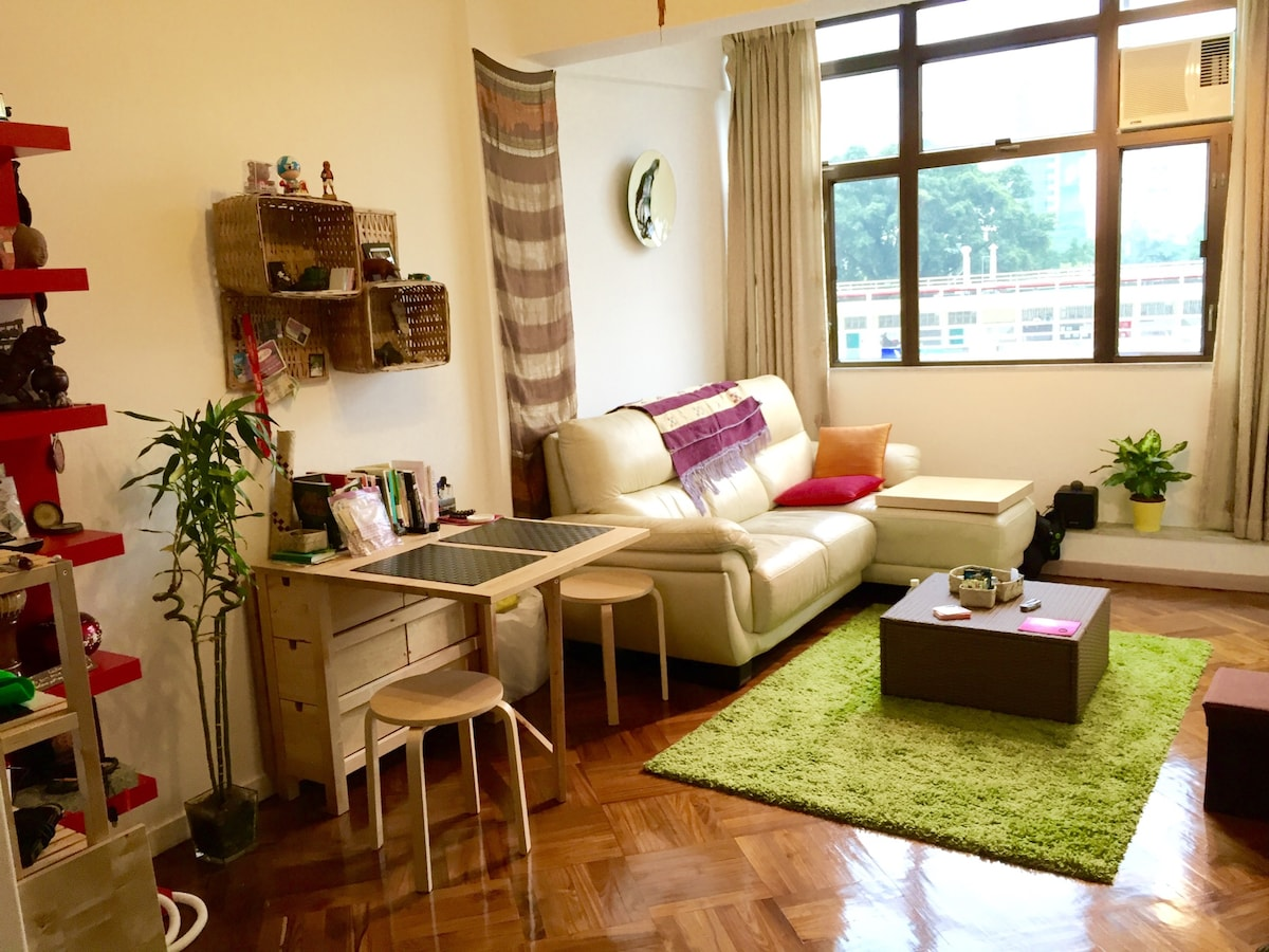 Main area of apartment with great view and comfortable couch!