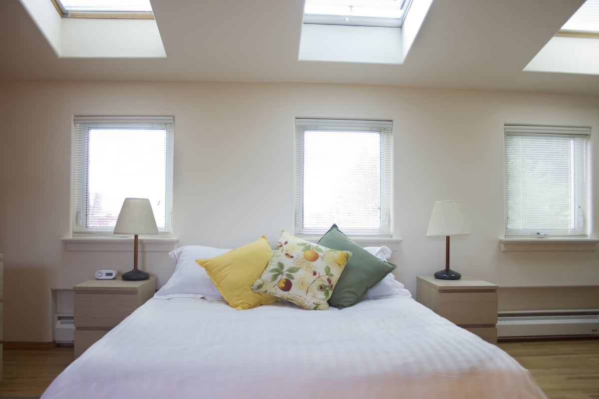 Three operating windows and three skylights, one operable, provide plenty of light and air.