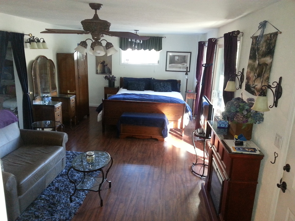 Your suite-like room with comfy CA KING bed, electric fireplace, tv, leather sofa and a.m. sunshine!