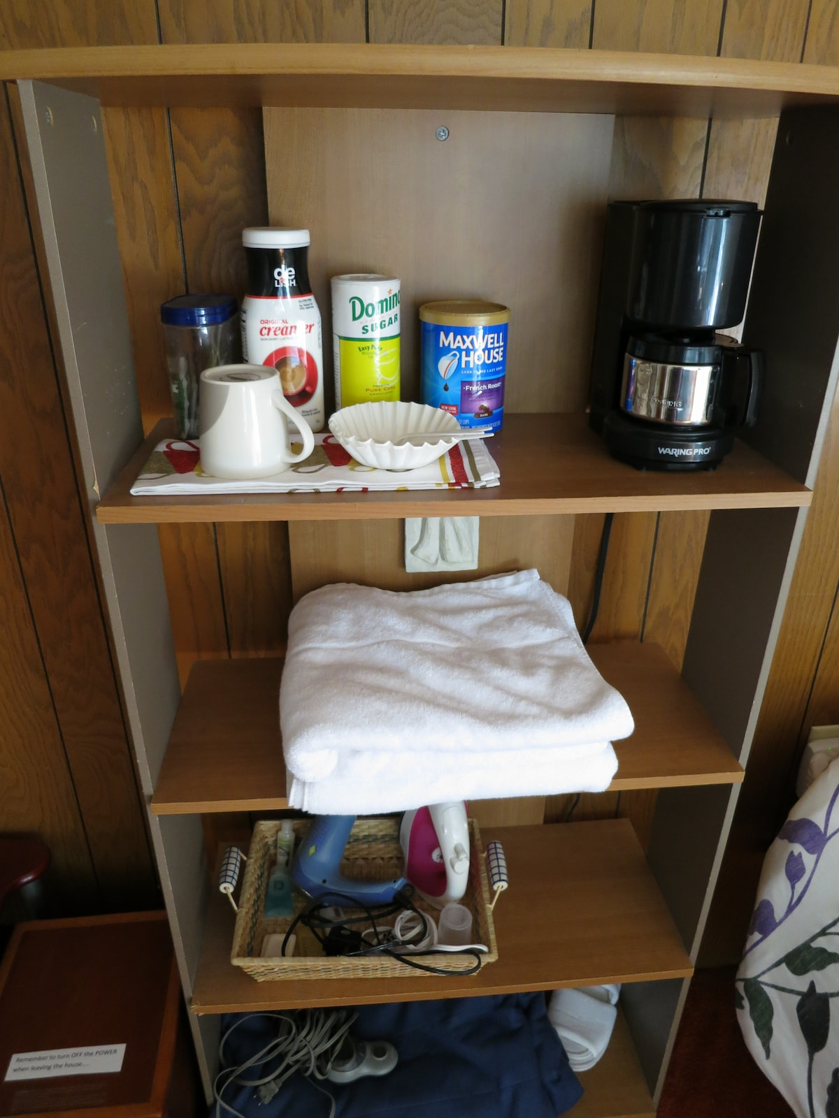 Basic toiletries, towels, and tea/coffee are provided.