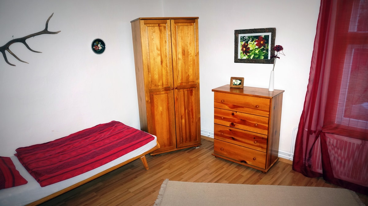 Main bedroom with 1 single and 1 king size bed