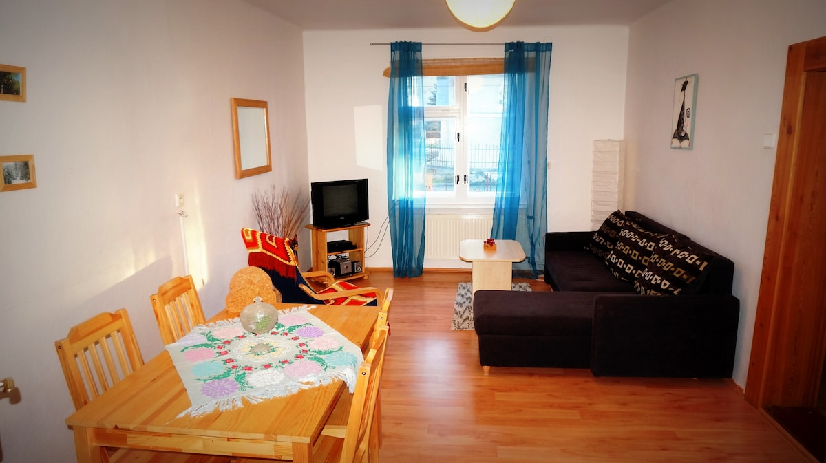 Spacious and bright lounge with an extendable sofa that sleeps 2, and a dining table