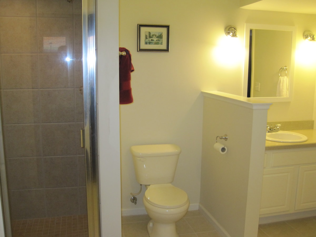 Newly remodeled, spacious private bathroom attached to your bedroom and closet area.