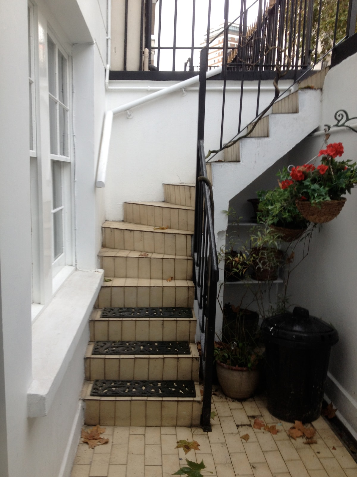 steps down to the flat.