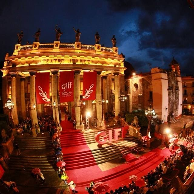Photo of Theatro Juarez, during our international film festival. The theater is on the jardin, just a 5-10 minute walk from the house.