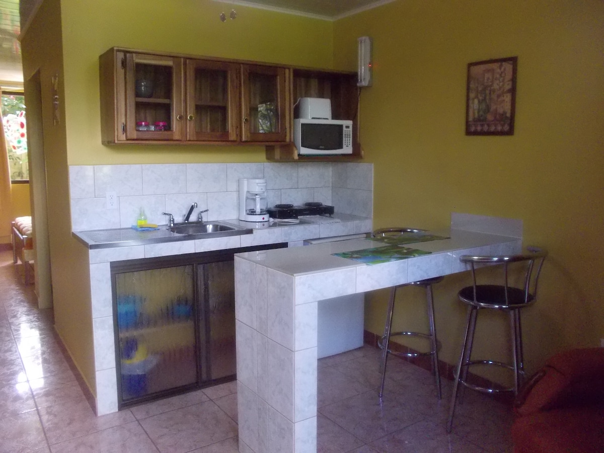 Kitchenette and nook with high chairs