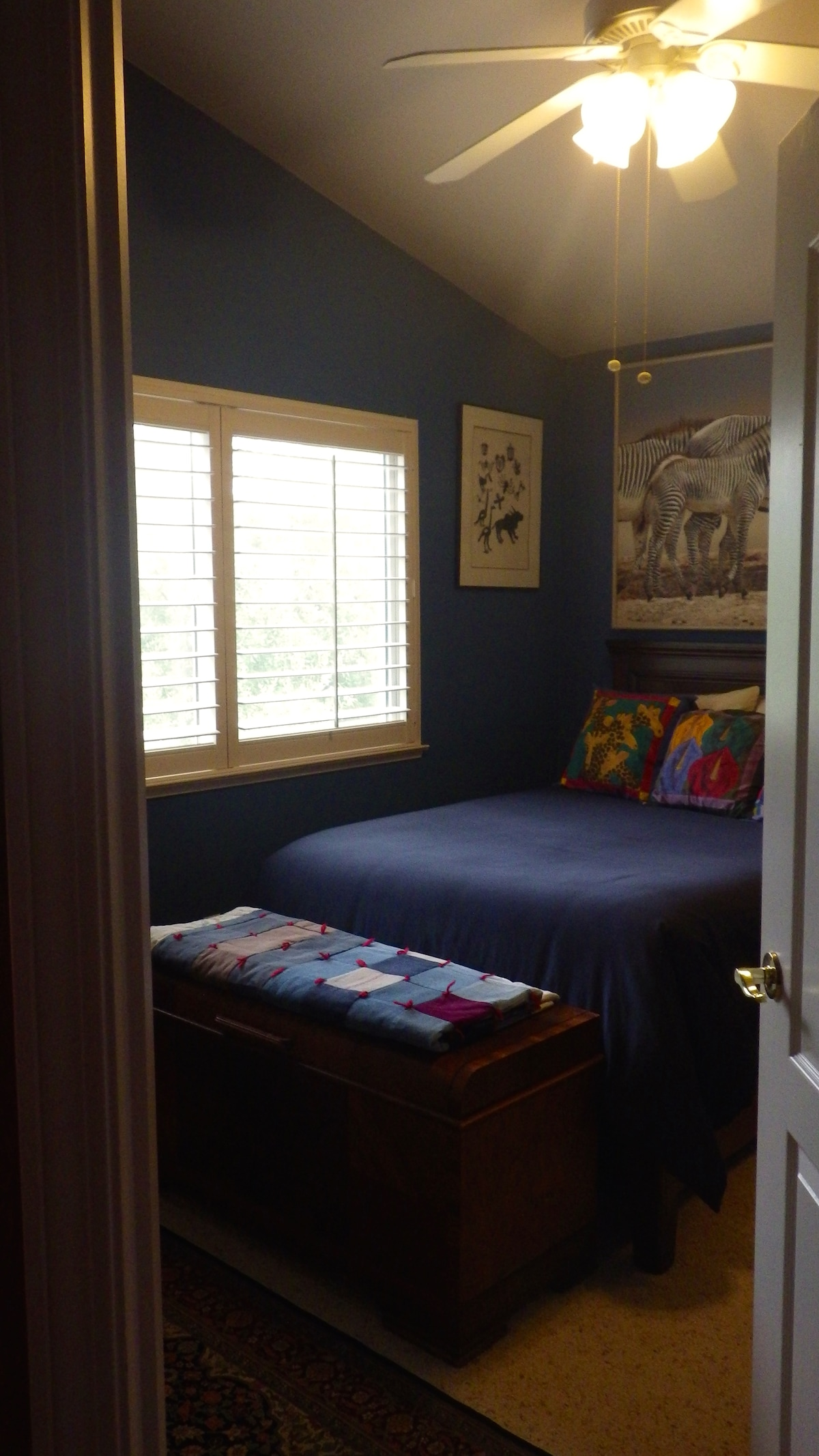Guest Bedroom with authentic African art.