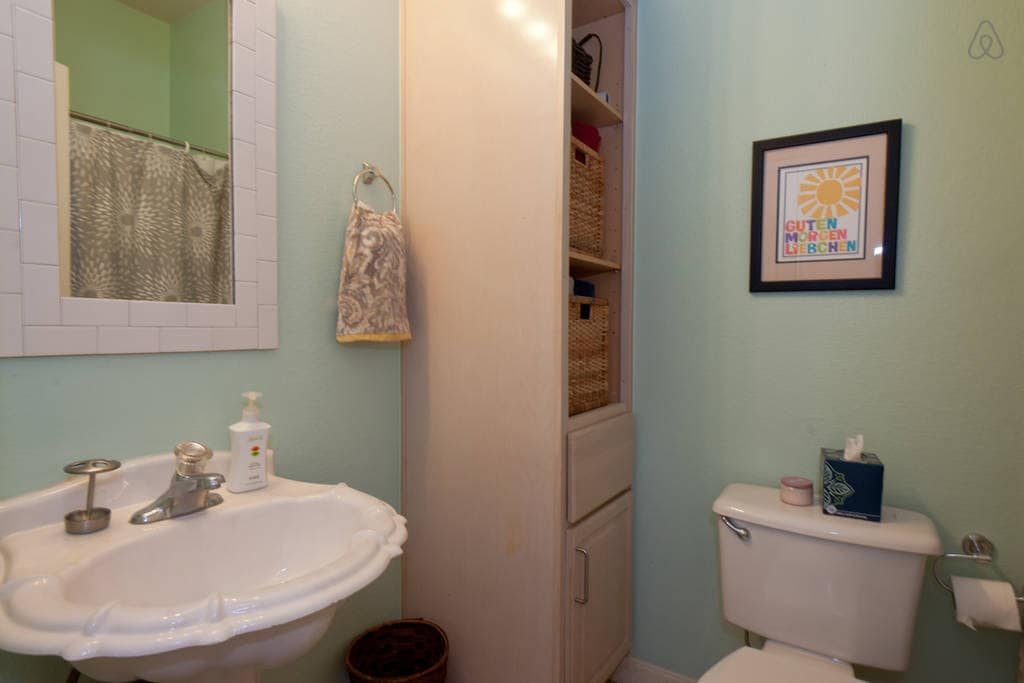 your bathroom (towels, etc in the cabinet!)