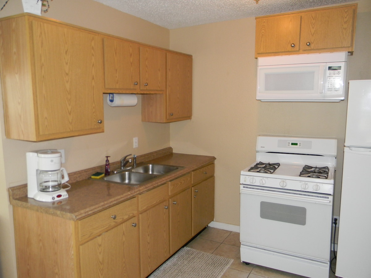 Kitchen with Full Size Refrigerator & Gas Stove