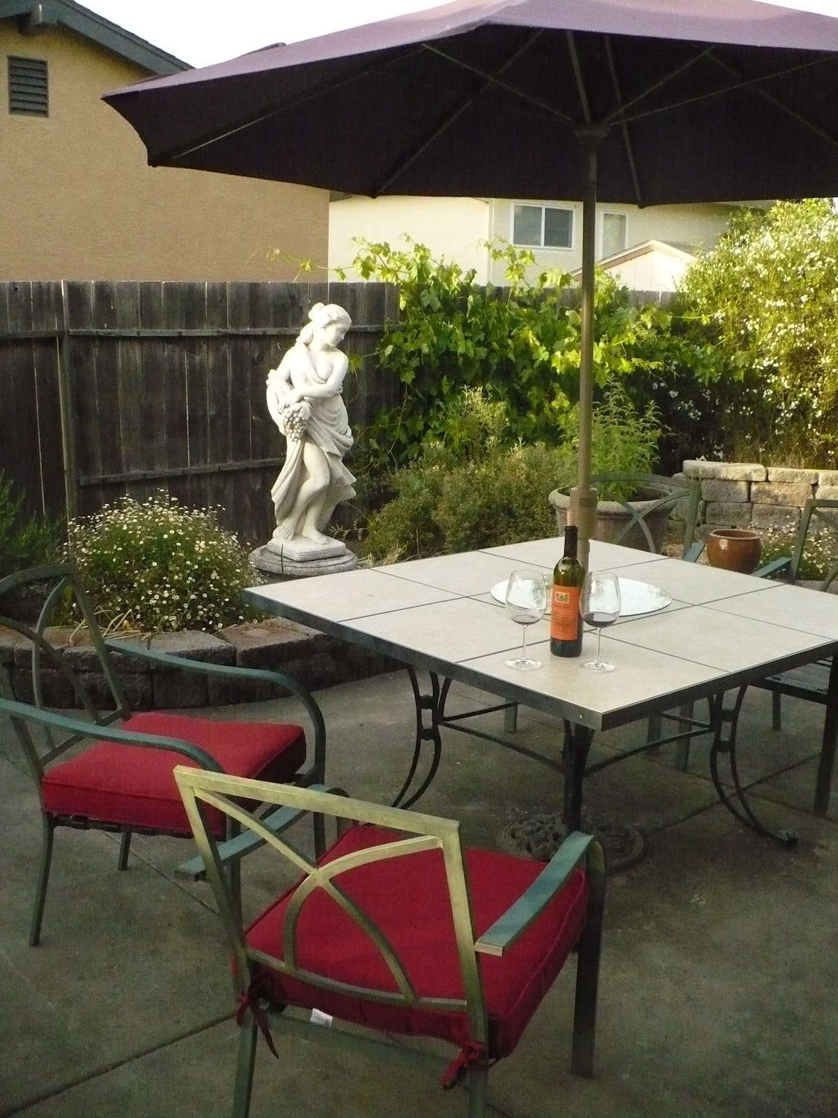 Enjoy an evening glass of wine on the patio...