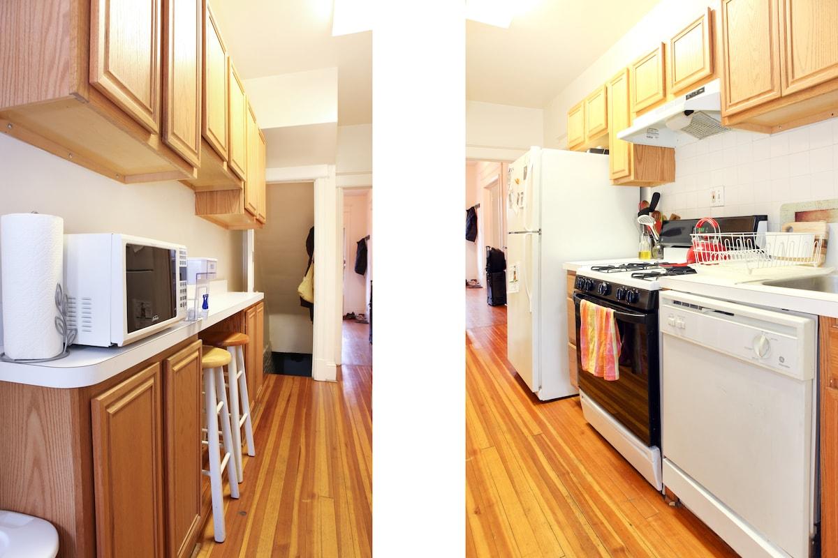 Split view of the kitchen