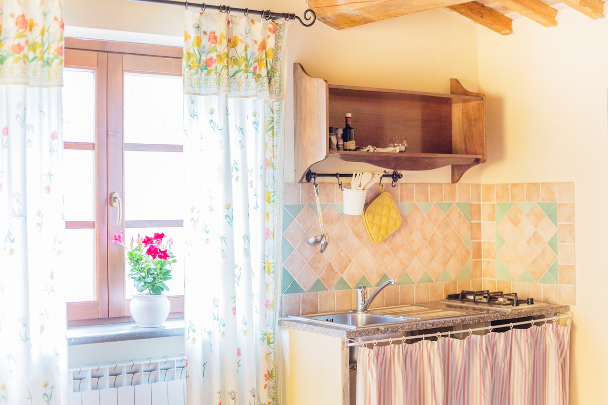 The kitchenette on the lodge