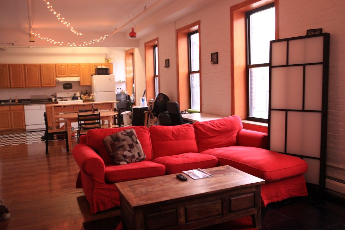 Spacious loft living room.