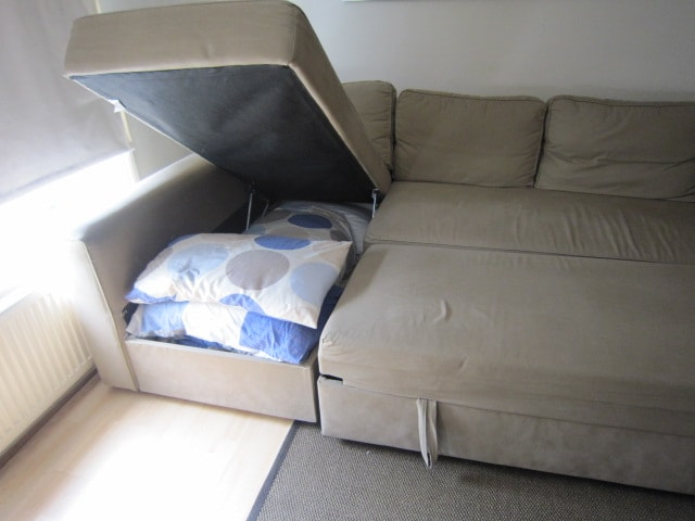 Sofa-bed sleeps 2, extra guest bed sleeps 1, and extra guest bed available if desired