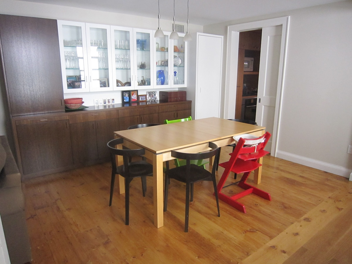 Dining room.  Table has 2 leaves for easy expansion to seat 10.