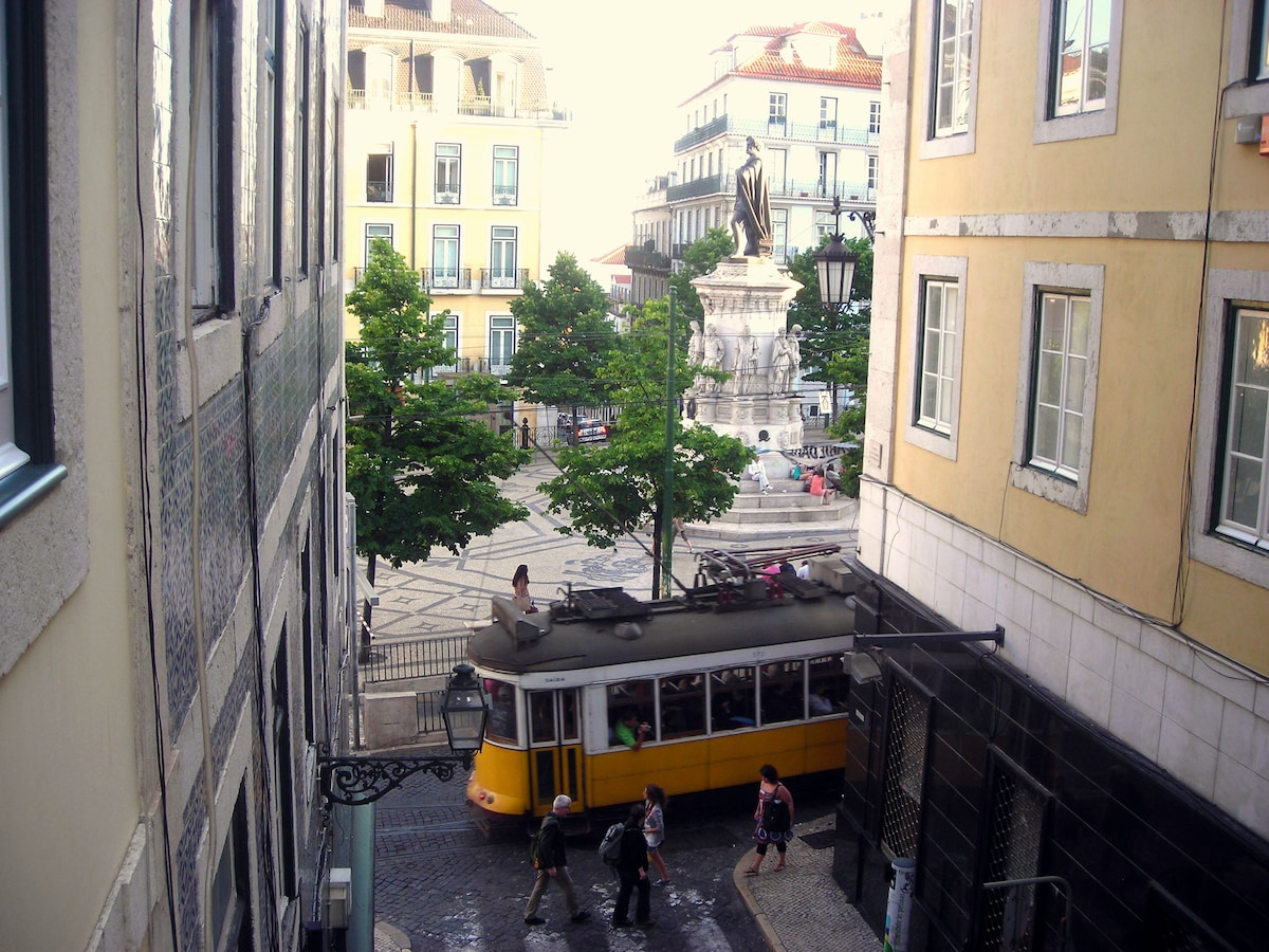The tram just passing by... the window!